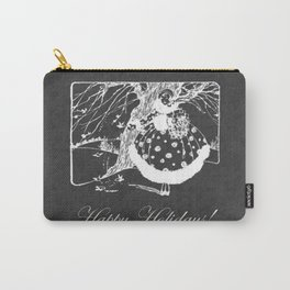Happy Holidays Retro Christmas Glam Chalkboard Carry-All Pouch