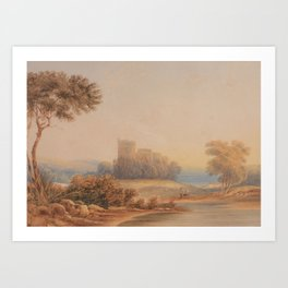 Copley Fielding (1787-1855) Landscape with castle ruin and lake in the distance Art Print