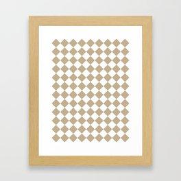 Diamonds - White and Khaki Brown Framed Art Print