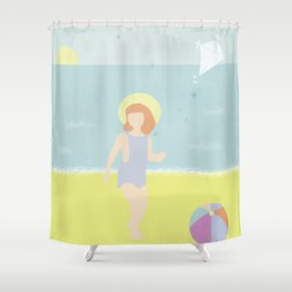 Girl at the beach with kite and ball in the 1950's vintage Shower Curtain