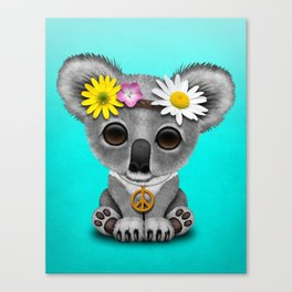 Cute Baby Koala Hippie Canvas Print