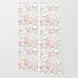 pink flowers and leaves pattern  Wallpaper