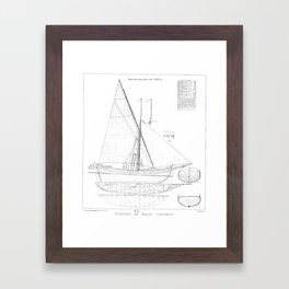 Vintage black & white sailboat blueprint drawing antique nautical beach or lake house preppy decor Framed Art Print