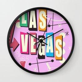 Vintage Las Vegas Vacation print pink version Wall Clock