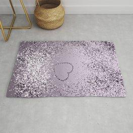 Sparkling LAVENDER Lady Glitter Heart #1 (Faux Glitter) #decor #art #society6 Rug