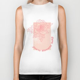 You're Bloomin' Baby - Pink Floral Type Biker Tank