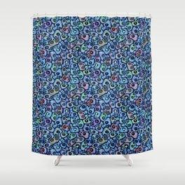 Calaveras del Dia de los Muertos azules. Shower Curtain