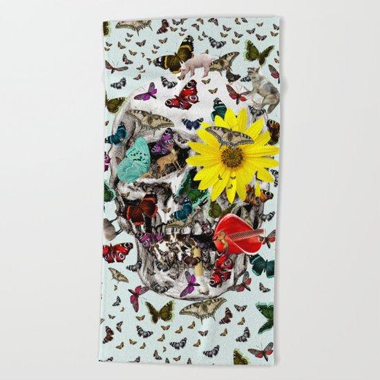 Skull Flowers Animals on MINT   Butterflies Beach Towel