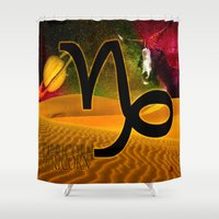 capricorn Shower Curtains featuring Capricorn by LBH Dezines