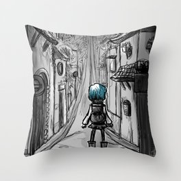 Uphill road Throw Pillow