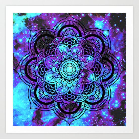 Mandala : Bright Violet & Teal Galaxy 2 Art Print