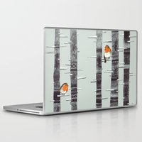 winter Laptop & iPad Skins featuring Robin Trees by Sandra Dieckmann