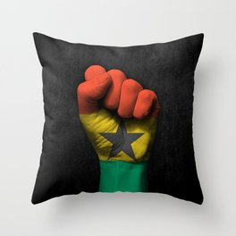 Ghana Flag on a Raised Clenched Fist Throw Pillow