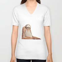 sloth V-neck T-shirts featuring sloth by Wiebke Rauers