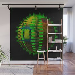 Yellow Layered Star in Green Flames Wall Mural