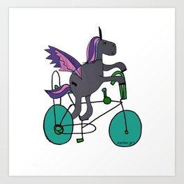 Unicorns LOVE bikes. Art Print