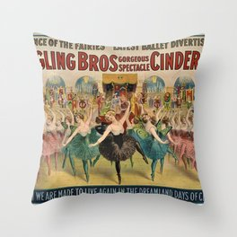 1896 Ringling Brothers Big Top Circus 'Dance of the Fairies' Vintage Poster Throw Pillow