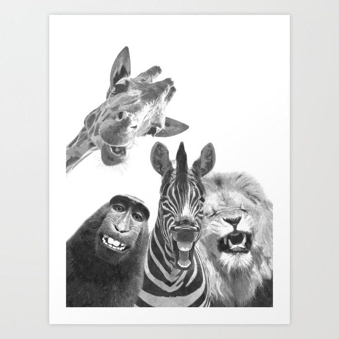 Black and White Jungle Animal Friends Art Print