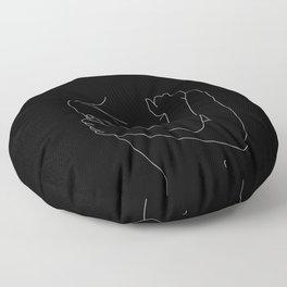 Nude figure line drawing illustration - Emie black Floor Pillow