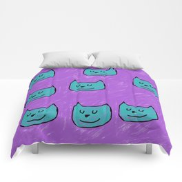Cute Cats in blue Comforters