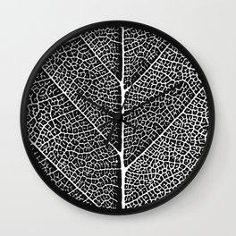 Modern abstract black white tree leave texture Wall Clock