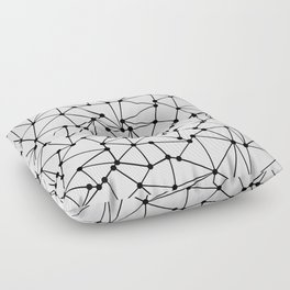 Ab Out Lines With Spots White Floor Pillow