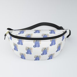 Cat and foliage - ochre and purple Fanny Pack