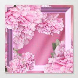 Pink Peonies In Frame #decor #society6 #buyart Canvas Print