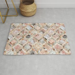 Rosy Marble Moroccan Tile Pattern Rug