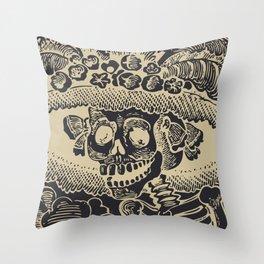 Calavera Catrina | Skeleton Woman | Anthracite and Soybean | Throw Pillow