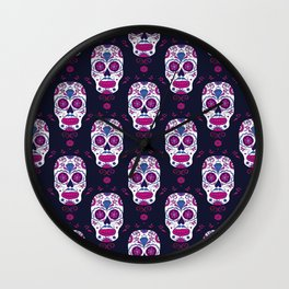 Sugar skull pattern. Mexican Day of the dead graphic. Wall Clock