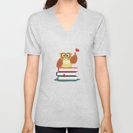 Owl Book Lover Unisex V-Neck