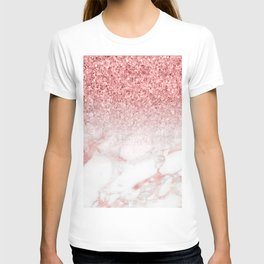 Rose-gold faux glitter and marble ombre T-shirt