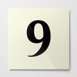 9 (BLACK & BEIGE NUMBERS) Metal Print
