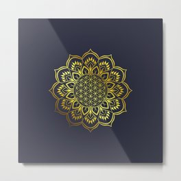 Flower of life Gold Mandala Metal Print