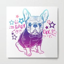Fashionable French bulldog. Metal Print