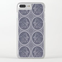 Grisaille Charcoal Blue Grey Neo-Classical Ovals Clear iPhone Case