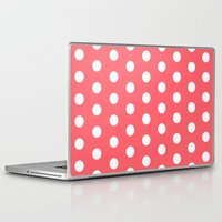 polka dot Laptop & iPad Skins featuring Polka Dot Coral by Beautiful Homes