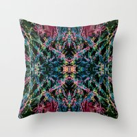 good vibes Throw Pillows featuring GOOD VIBES by Lara Gurney