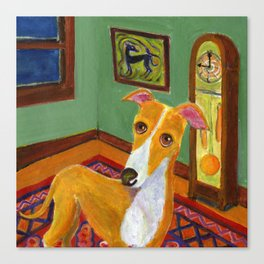 "Greyhound with grandfather clock ""Time's up"" Canvas Print"