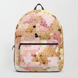 Flower Mosaic Millennial Pink and Golden Yellow Abstract Art | Honey Comb | Geometric Backpack