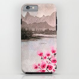Pink Flowers and Mountain Landscape iPhone Case