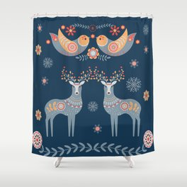 Nordic Winter Blue Shower Curtain