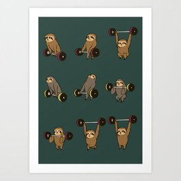 OLYMPIC LIFTING SLOTHS Art Print