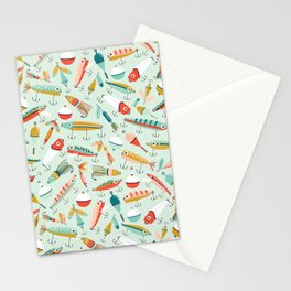 Fishing Lures Light Blue Stationery Cards