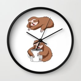 Coffee Sloth Barista Brewer Addict Wall Clock