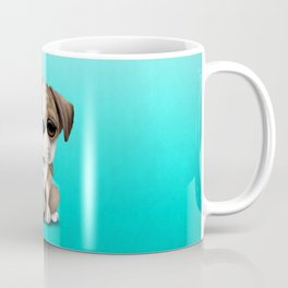 Cute British Bulldog Puppy With Football Soccer Ball Coffee Mug