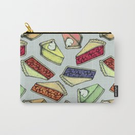 Easy As Pie - cute hand drawn illustrations of pie on sage green Carry-All Pouch