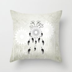 Dreamcatcher in black and white Throw Pillow