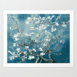 Vincent Van Gogh Almond Blossoms Teal Art Print
